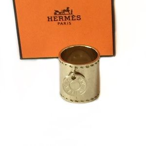 Hermes Gold Charm Scarf Ring